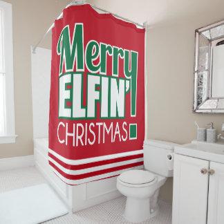 Funny Merry Elfin' Christmas Shower Curtain