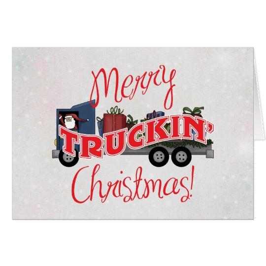 Funny Merry Truckin Christmas Card