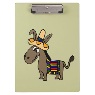 Funny Mexican Burro with Colorful Blanket Clipboard