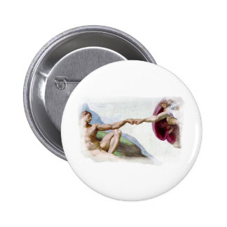 Funny Michelangelo Creation Of Man Fist Bump 6 Cm Round Badge