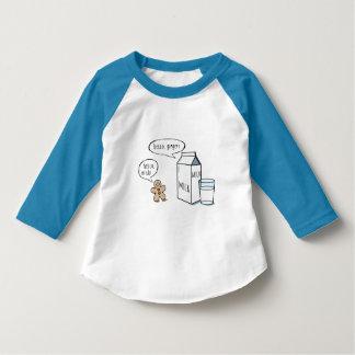 Funny Milk & Ginger Kids White T w/ Blue Sleeve T-Shirt