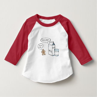 Funny Milk & Ginger Kids White T w/ Red Sleeve T-Shirt