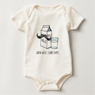 Funny Milk & Moustache Organic Baby Body Suit Baby Bodysuit