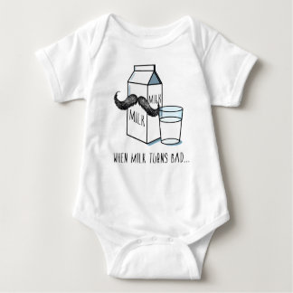 Funny Milk & Moustache - White Baby Bodysuit