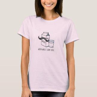 Funny Milk & Moustache - Women's Pale Pink T-shirt