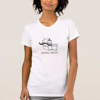 Funny Milk & Moustache Women's White Fitted T T-Shirt