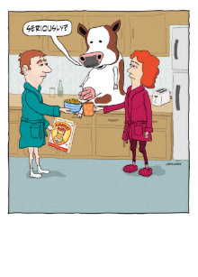 Funny Milking The Cow Happy Birthday Card