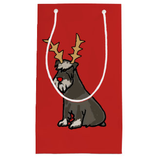 Funny Miniature Schnauzer with antlers Christmas Small Gift Bag
