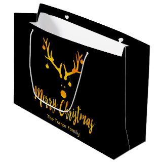 Funny minimalist Christmas gold reindeer on black Large Gift Bag