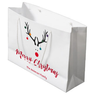 Funny minimalist Christmas reindeer on white Large Gift Bag