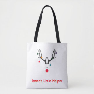 Funny minimalist Santa's helper reindeer on white Tote Bag
