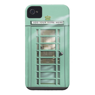 Funny Mint Green British Phone Box Personalized Case-Mate iPhone 4 Cases