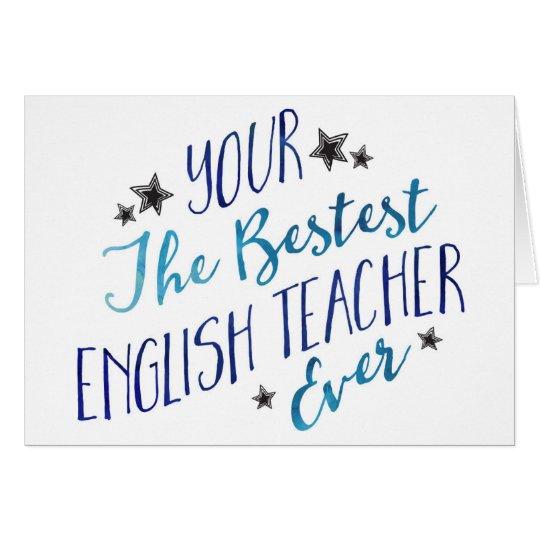 Funny Mispelled Bestest English Teacher Ever Card