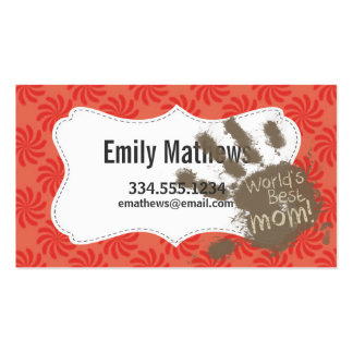 Funny Mom, Coral & Red Swirl Pack Of Standard Business Cards