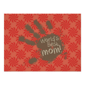 Funny Mom Coral Red Swirl Poster