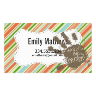 Funny Mom Gift; Peach & Forest Green Striped Business Cards