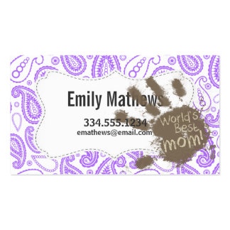 Funny Mom Gift; Purple Paisley Pattern Business Card Template