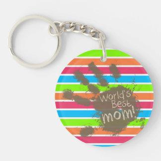 Funny Mom; Retro Neon Rainbow Key Chain