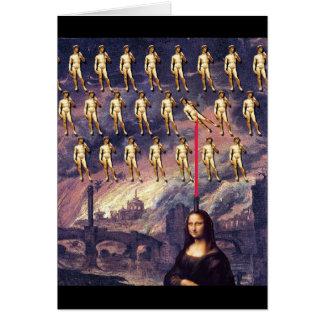 Funny Mona Lisa & David Greeting Card