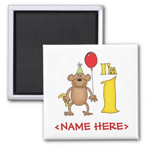 Funny Monkey 1st Birthday Fridge Magnet