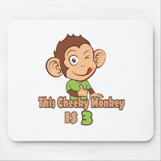 Funny Monkey 3 year old birthday Mouse Pad