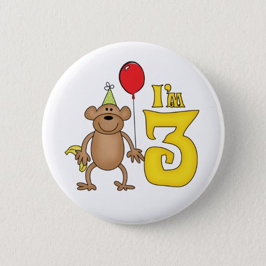 Funny Monkey 3rd Birthday 6 Cm Round Badge