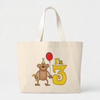 Funny Monkey 3rd Birthday Jumbo Tote Bag