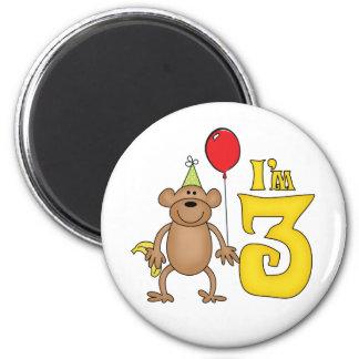 Funny Monkey 3rd Birthday Refrigerator Magnets