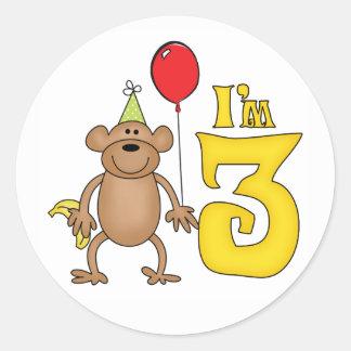 Funny Monkey 3rd Birthday Stickers