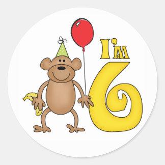 Funny Monkey 6th Birthday Round Sticker