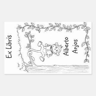 Funny monkey bookplate / exlibris for kids rectangular sticker