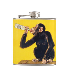 Funny monkey hip flask