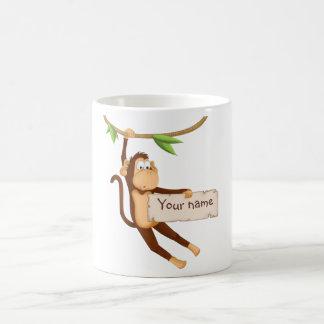 Funny monkey holding Your Text Basic White Mug