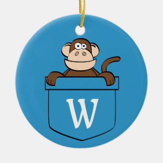 Funny Monkey in a Pocket Monogrammed Christmas Ornament