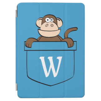 Funny Monkey in a Pocket Monogrammed iPad Air Cover