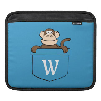 Funny Monkey in a Pocket Monogrammed iPad Sleeve