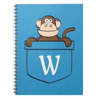 Funny Monkey in a Pocket Monogrammed Notebook
