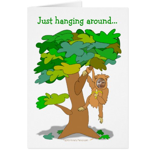 Funny Monkey in a Tree Custom Photo Face Template Card