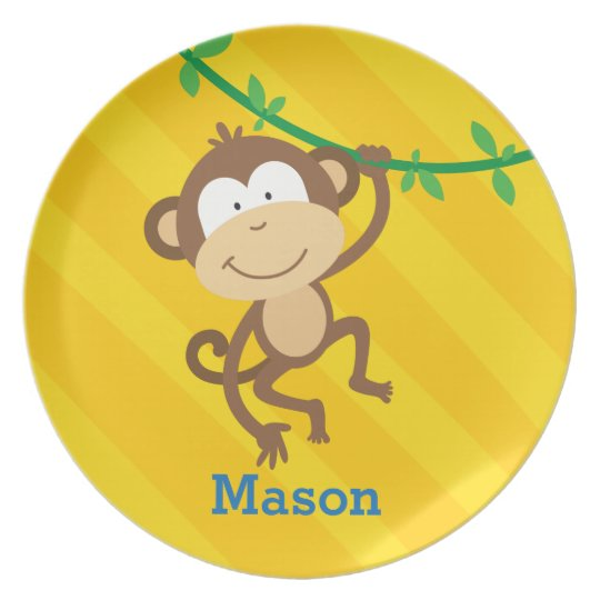 Funny Monkey in the Jungle Personalised Plate