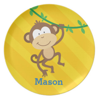 Funny Monkey in the Jungle Personalized Plate