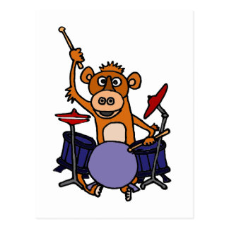 Funny Monkey Playing Drums Postcard