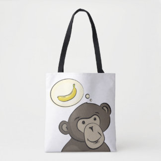 Funny monkey with banana inside a speech bubble tote bag
