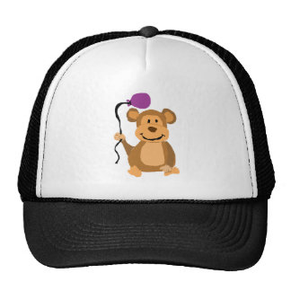 Funny Monkey with Purple Balloon Trucker Hat