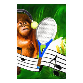Funny monkey with racket personalised stationery