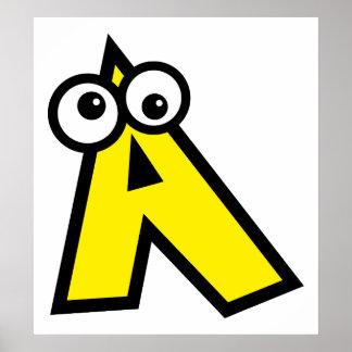 Funny Monogram Letter A Poster
