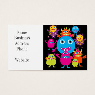 Funny Monster Bash Cute Creatures Party Business Card