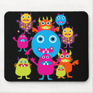 Funny Monster Bash Cute Creatures Party Mouse Pad