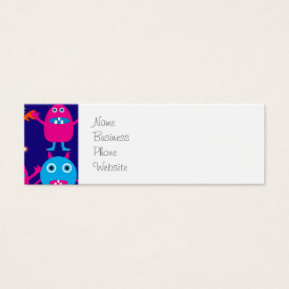 Funny Monster Party Cute Creatures on Blue Mini Business Card