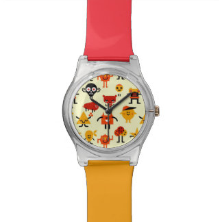 Funny monsters pattern wrist watch