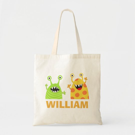 Funny monsters personalised name tote bag for kids